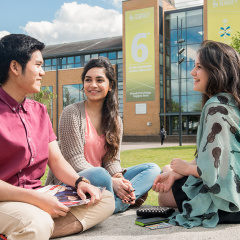 Surrey ISC student on campus at the University of Surrey.