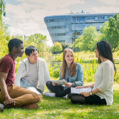 Surrey ISC students on campus at the University of Surrey.